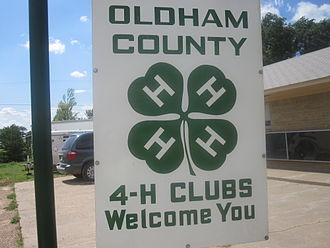 4-H - 4-H emblem in Oldham County in Vega west of Amarillo, Texas