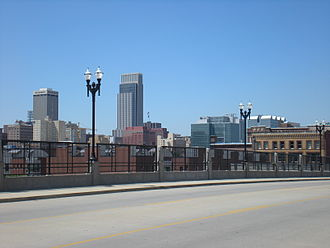 Downtown Omaha - View of Downtown Omaha looking north from the 10th Street Bridge.