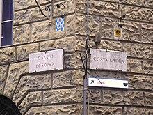 Emblemi dell'Onda (a sinistra) e dell'Aquila (a destra) nell'angolo tra il Casato di Sopra e la Costa Larga, punto di confine tra i territori delle due Contrade.