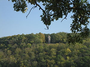 Lowden State Park - Black Hawk Statue viewed from Illinois Route 2