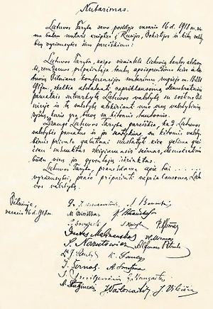 Act of Independence of Lithuania - The original hand-written Act of Independence of Lithuania with twenty original signatures of signatories