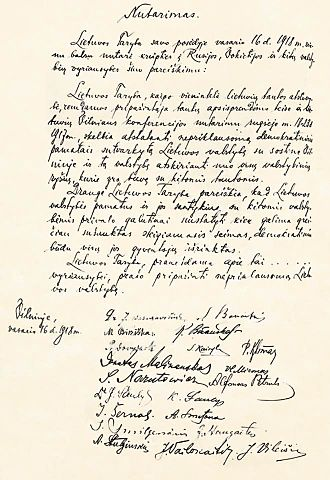 Act of Independence of Lithuania - The original hand-written Act of Independence of Lithuania with twenty original signatures of signatories