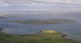 An aerial view of Graemsay, from above Hoy