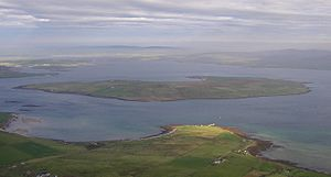Graemsay - An aerial view of Graemsay, from above Hoy