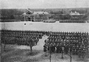 Osowiec Fortress - Soldiers outside the Osowiec fortress church, 1915