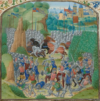 A medieval miniature depicting the Battle of Otterburn where Carrick's close ally, James, Earl of Douglas was killed Otterburn Battle.jpg