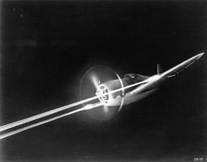 Republic P-47 Thunderbolt - P-47 firing its M2 machine guns during night gunnery