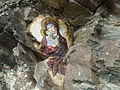 Painting of Virgin Mary on a rock in Osogovo Monastery, Macedonia.JPG