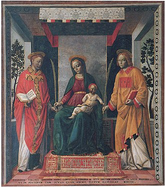 Faustinus and Jovita - Virgin Mary and Christ Child with Saints Jovita and Faustinus, by Vincenzo Foppa.