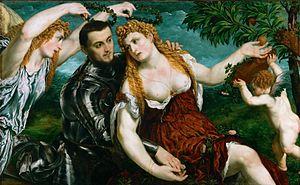 Paris Bordone - Venus, Mars, and Cupid crowned by Victory by Paris Bordone