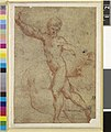 Parmigianino - David with the head of Goliath; nude figure of David striding to left, holding onto the giant's hair with his left hand Red chalk, 1952,0121.67.jpg