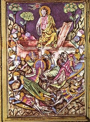 Reliquary of the Santo Corporale - Image: Particolare di una scena 2 in smalto translucido del reliquiario del coprorale di bolsena, duomo di orvieto, fatto da ugolino di Vieri, senese, tra il 1337 e il 1338