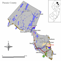Map of Paterson in Essex County. Inset: Passaic County's location in New Jersey.