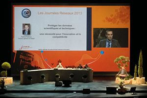 Agence nationale de la sécurité des systèmes d'information - Patrick Pailloux with ANSSI during dating Journées Réseaux 2013 in Montpellier.
