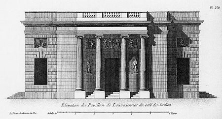 Pavillon de Louveciennes – Elevation of entry side (façade from the garden)