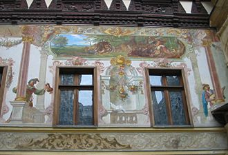 Peleș Castle - A mural in the inner court