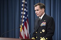 Pentagon Press Secretary Navy Rear Adm. John Kirby briefs reporters at the Pentagon, June 24, 2014 140624-M-EV637-049.jpg