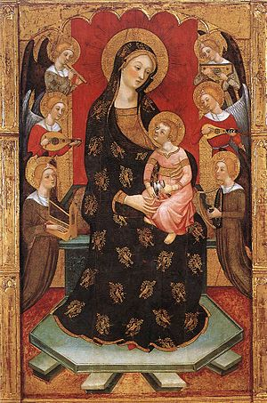 Virgin of the Angels - Image: Pere Serra Madonna with Angels Playing Music WGA21170