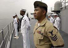 75a0f2f2e88 Corpsman wearing the Marine Corps Service Uniform in 2007.