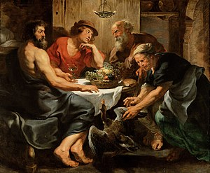 Xenia (Greek) - Jupiter and Mercurius in the House of Philemon and Baucis (1630–33) by the workshop of Rubens:  Zeus and Hermes, testing a village's practice of hospitality, were received only by Baucis and Philemon, who were rewarded while their neighbors were punished.