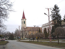 Center of the village with the Catholic Church
