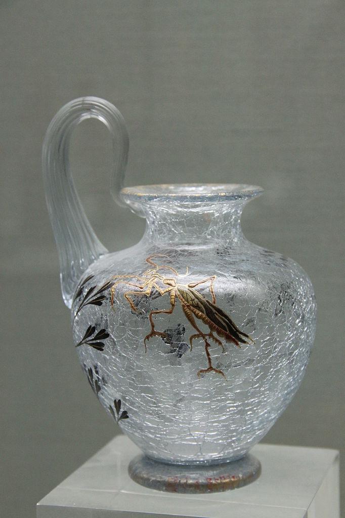 Petit Vase Verre Decor Iris Verre Depoli