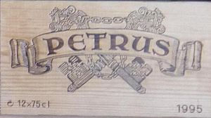 Pétrus (wine) - Close up of wooden wine crate used to ship bottles of Petrus.