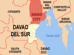 Map of Davao Region showing the location of Davao City Coordinates: 7° 30' N, 126° E