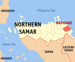 Map of Northern Samar with Mapanas highlighted