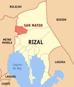 Map of Rizal showing the location of San Mateo.