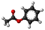 Ball-and-stick model of the phenyl acetate molecule