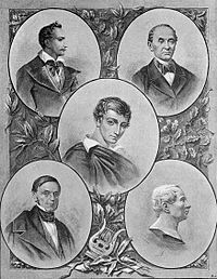 Philomaths and Philarets: Tomasz Zan, Ignacy Domejko, Adam Mickiewicz, Antoni Edward Odyniec, Jan Czeczot. Picture produced in 1899.