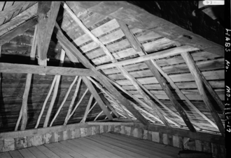 Rafter - Image: Photograph of the Roof Framing in the Bequet Ribault House in Ste Genevieve MO