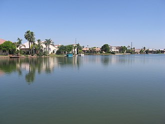 Gilbert, Arizona - A waterfront in the Val Vista Lakes Community in Gilbert