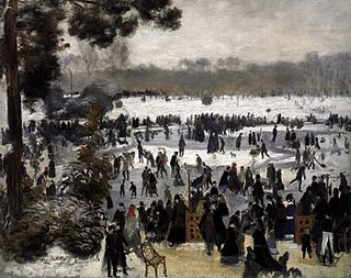<i>Skaters in the Bois de Boulogne</i> painting by Pierre-Auguste Renoir