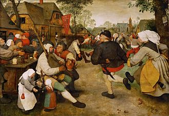 Genre art - Peasant Dance, c. 1568, oil on wood, by Pieter Brueghel the Elder