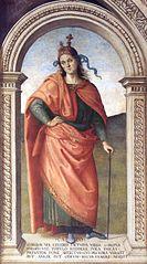 Fresken der Sala d'Udienza im Collegio del Cambio in Perugia, Szene: Cato