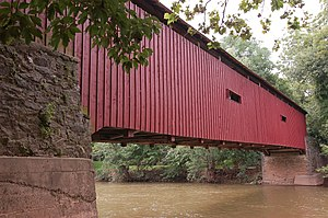 Pinetown Bushong's Mill Covered Bridge - Image: Pinetown Bushong's Mill Covered Bridge Side 3008px