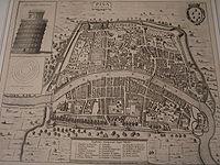 Antica mappa del centro storico di Pisa