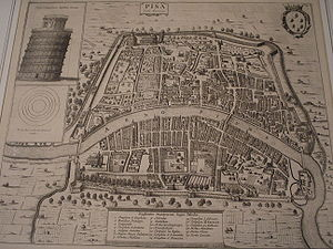 Maritime republics - Old map of Pisa