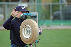 Pitching machine - A hand-fed pitching machine