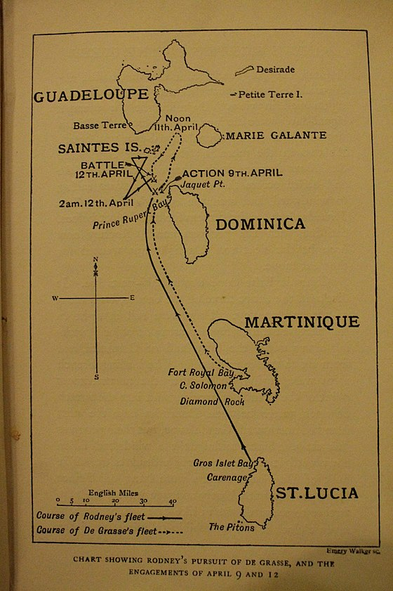Plan of the early ship movements leading to the Battle of the Saintes April 1782 Plan of the early ship movements leading to the Battle of the Saintes April 1782.jpg