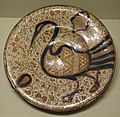 Plate with bird design, Spain, Hispano-Moresque, 16th century, earthenware with overglaze painting in blue and luster - Cincinnati Art Museum - DSC04149.JPG