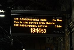 Platform train describer at Chester railway station (IMG 8945, 31512894951).jpg