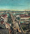 Pohled na Karlův most z Malostranské mostecké věže, olej na plátně, kolem 1820.jpg