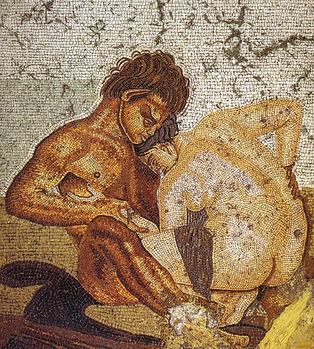 Satyr and nymph, mythological symbols of sexuality on a mosaic from a bedroom in Pompeii Pompeii - Casa del Fauno - Satyr and Nymph - MAN.jpg