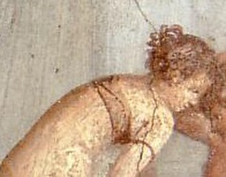 History of bras - Breast band on an otherwise nude woman (detail from a wall painting at Pompeii, 62–79 AD)