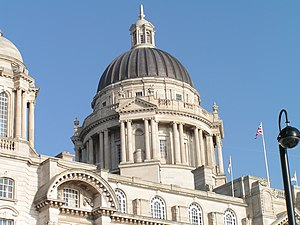 Port of Liverpool Building - The building's central dome is the main focal point of the building, although it was not part of the original design