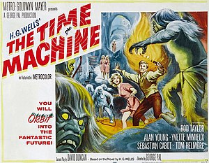 Time travel in fiction - Poster for the 1960 film adaptation of H. G. Wells' story