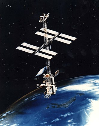 """Space Station Freedom - """"Power Tower"""" space station concept (1984)"""